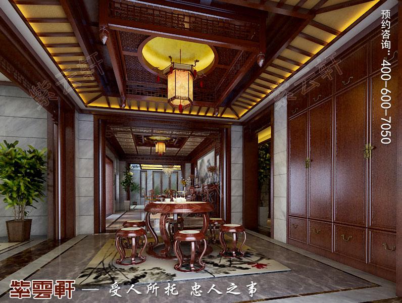 古典中式风格别墅装修过厅效果图