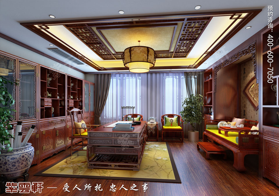 古典中式风格别墅装修书房效果图