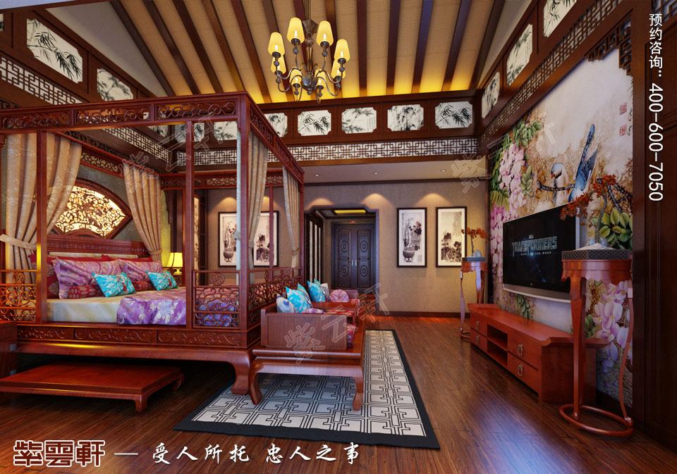 古典中式风格别墅装修主卧效果图