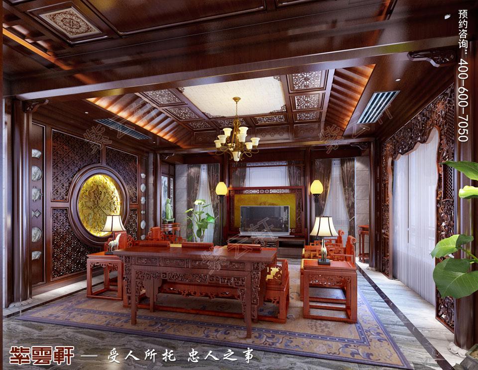 古典中式风格别墅装修客厅效果图
