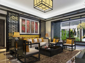 常州别墅新中式装修设计效果图 如沐春风,花香满襟