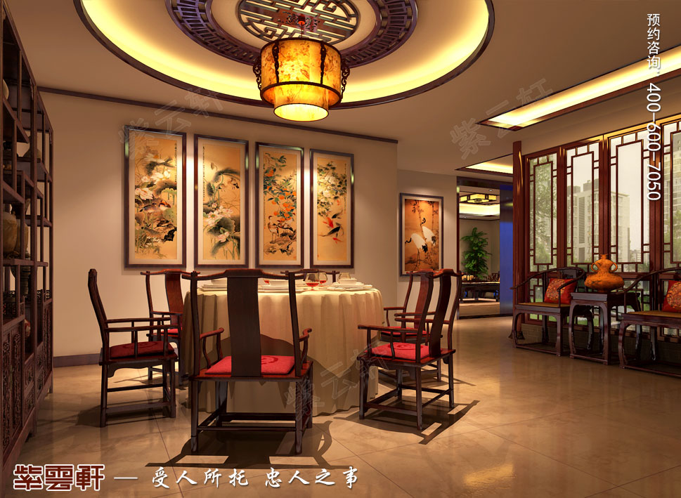 北京湾别墅复古中式装修效果图,淡泊明志,宁静致远