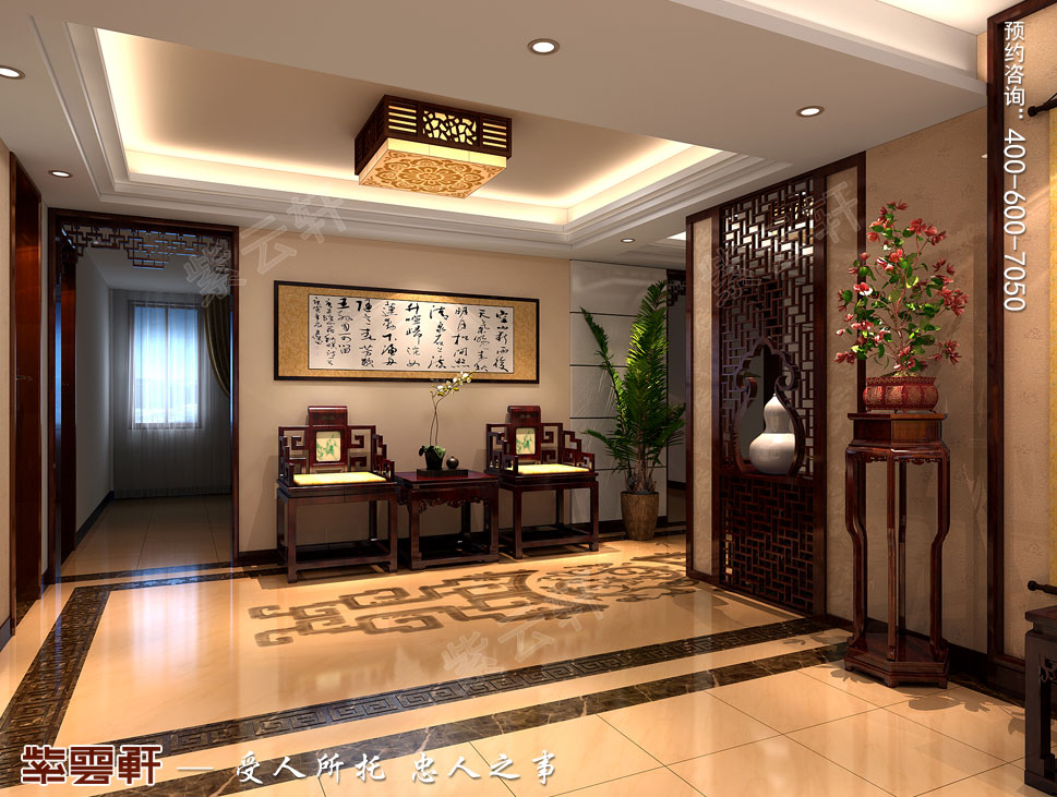 北京大兴别墅新中式装修效果图 古典与现代完美的融合