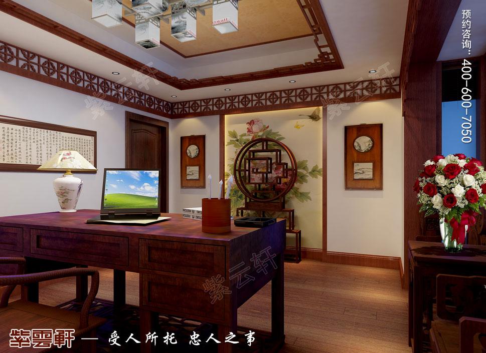 别墅书房简约古典中式装修图片
