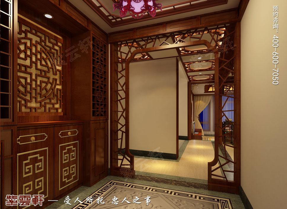 别墅过道简约古典中式装修图片