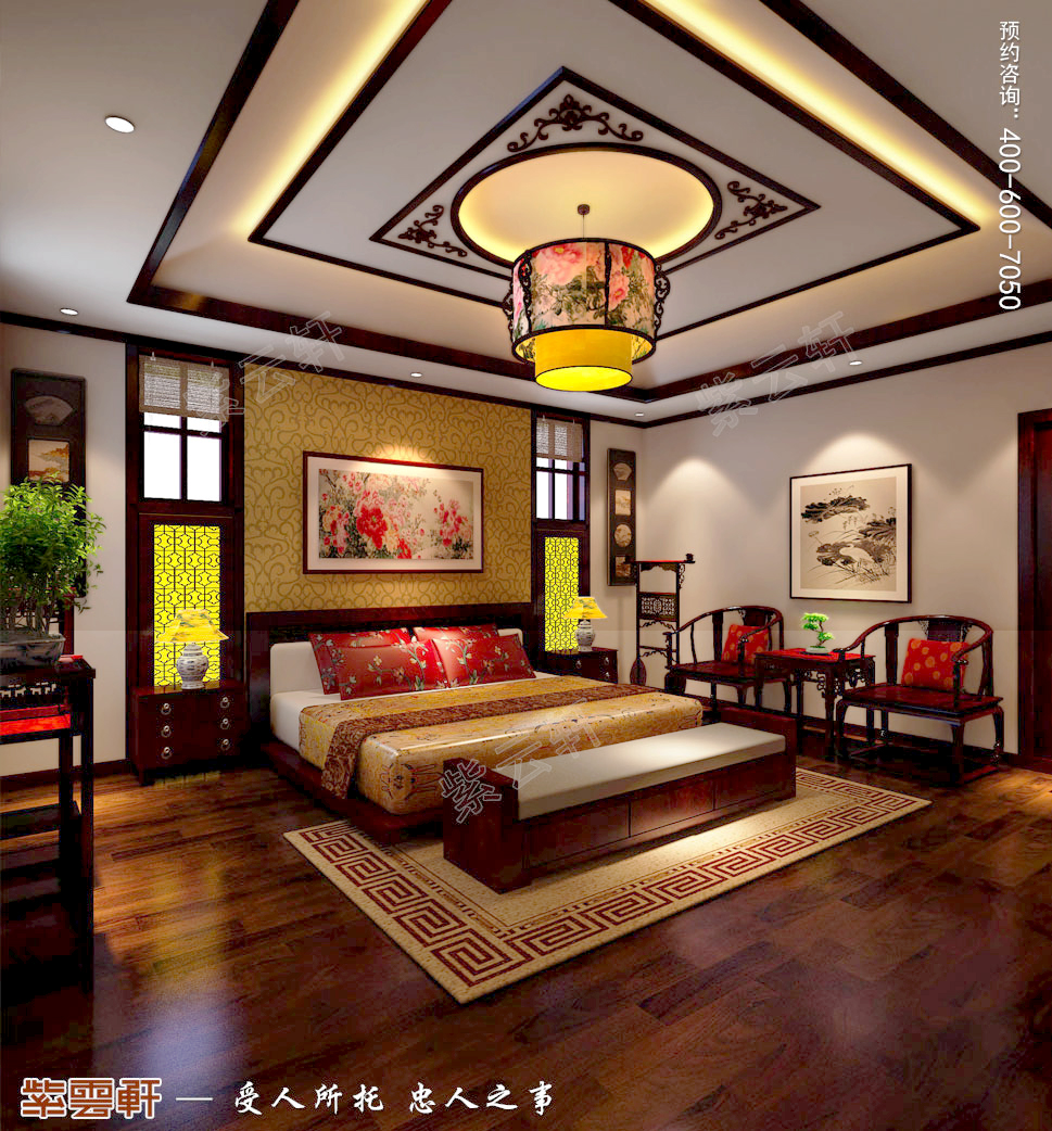 古典中式风格别墅主卧装修效果图
