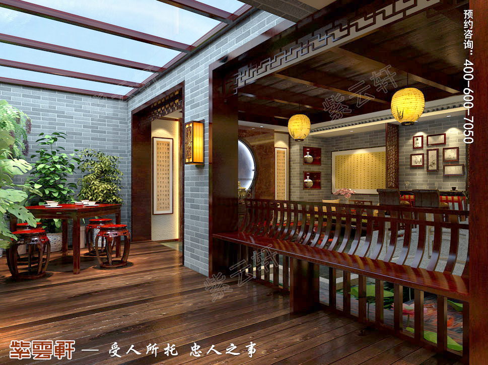 古典中式风格别墅休闲区装修效果图图片