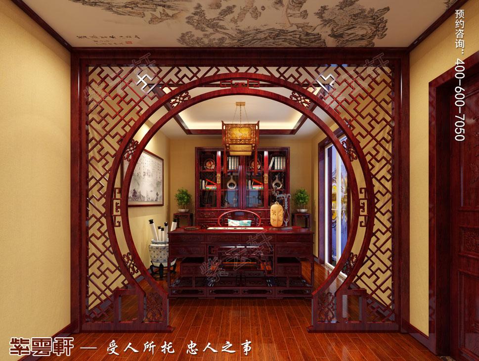 别墅主卧书房古典中式装修效果图