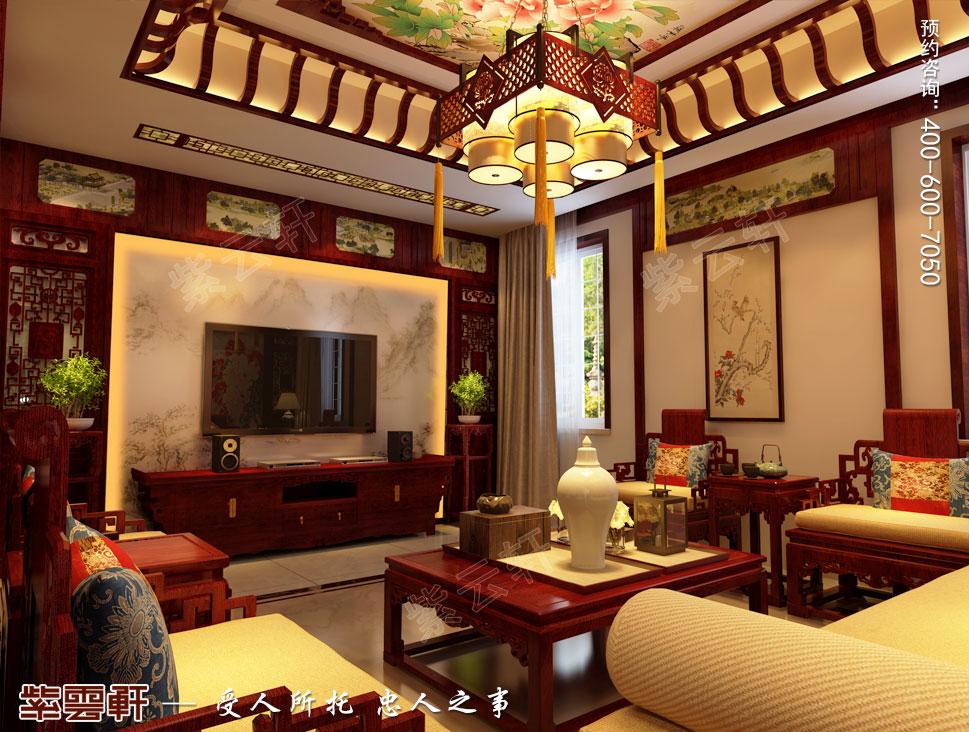 别墅二层客厅古典中式装修风格
