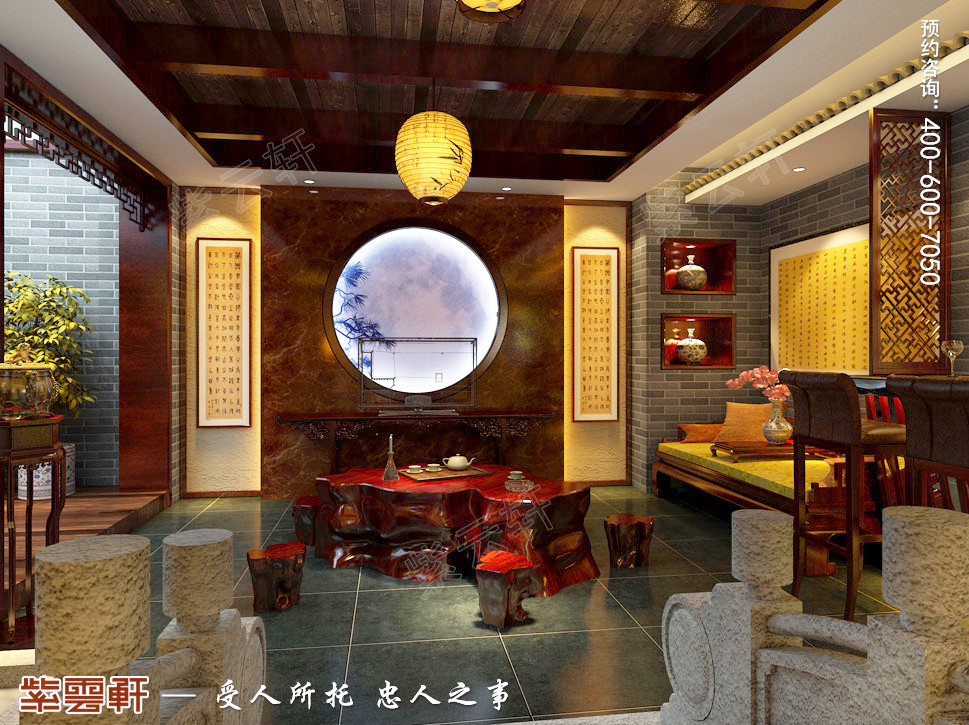 古典中式风格别墅茶室装修效果图