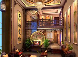 古典中式风格青岛别墅装修效果图--禅意雅居 厚德载物