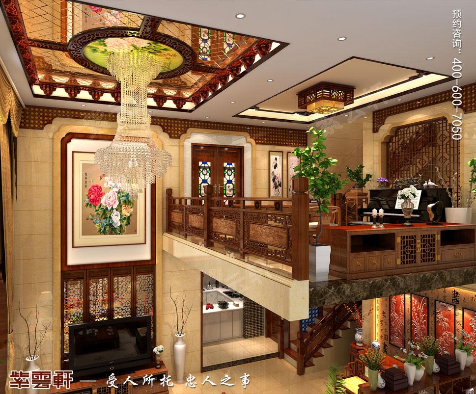 别墅客厅新中式装修效果图,挑空的客厅更为开阔,琉璃吊灯自镂空的