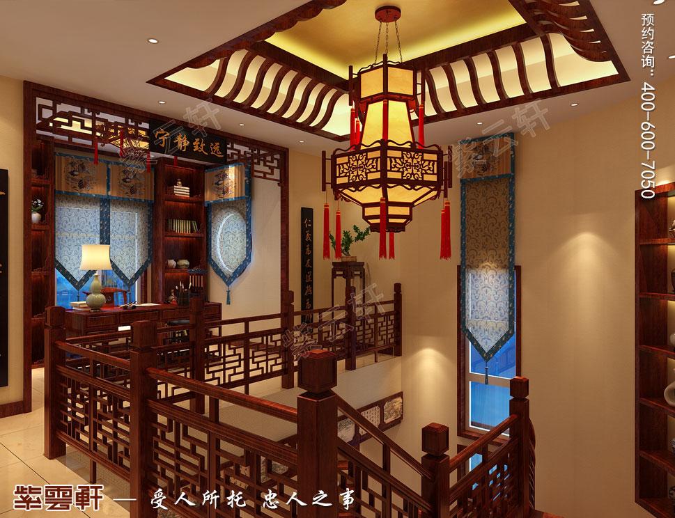 复古中式别墅楼梯间装修效果图