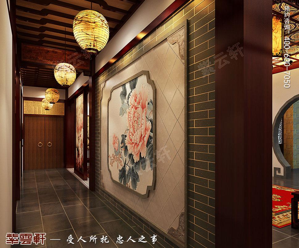 别墅负一层走廊装修中式效果图