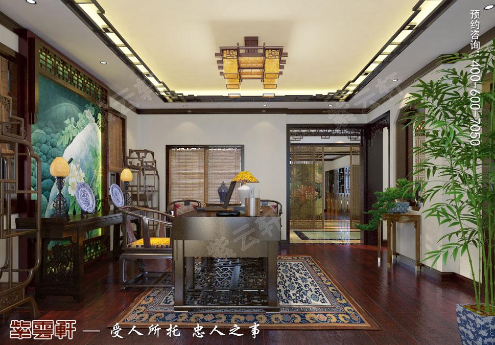 简约古典中式设计别墅书房效果图