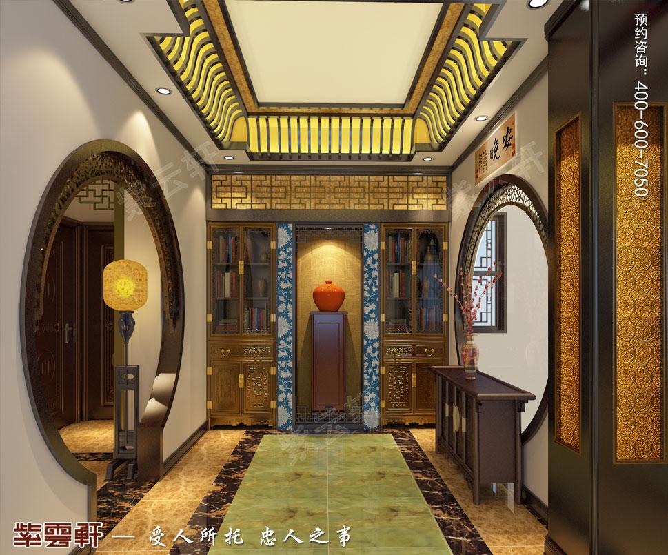 简约古典中式设计别墅过道效果图