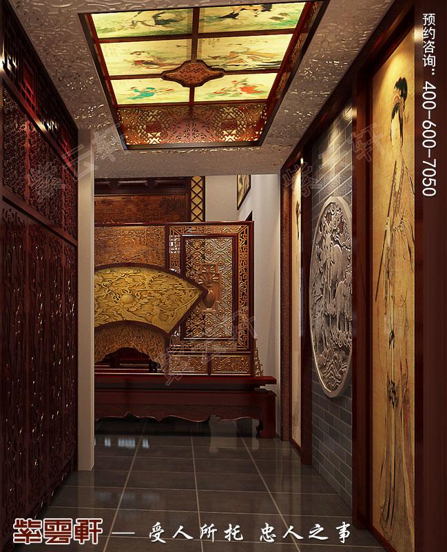 别墅门厅装修中式效果图