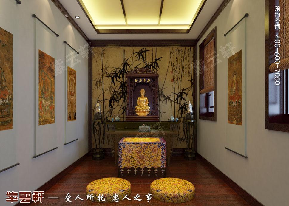 简约古典中式设计别墅佛堂效果图