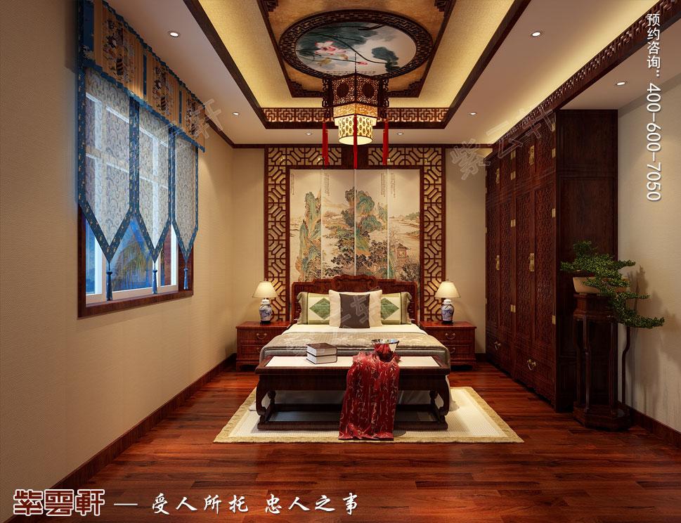 复古中式别墅次卧装修效果图