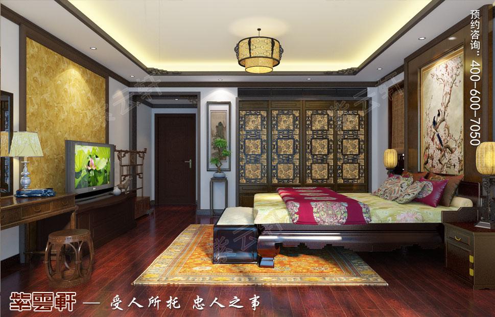 简约古典中式设计别墅主卧效果图