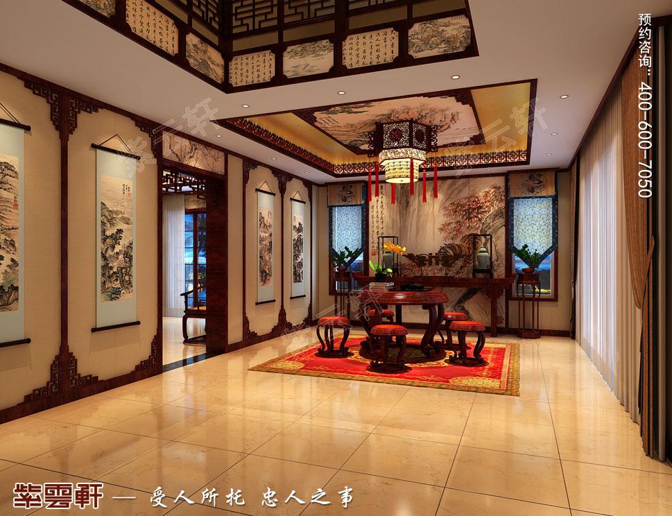 复古中式别墅客厅装修效果图