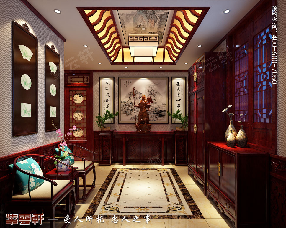 别墅玄关传统风格装修图片