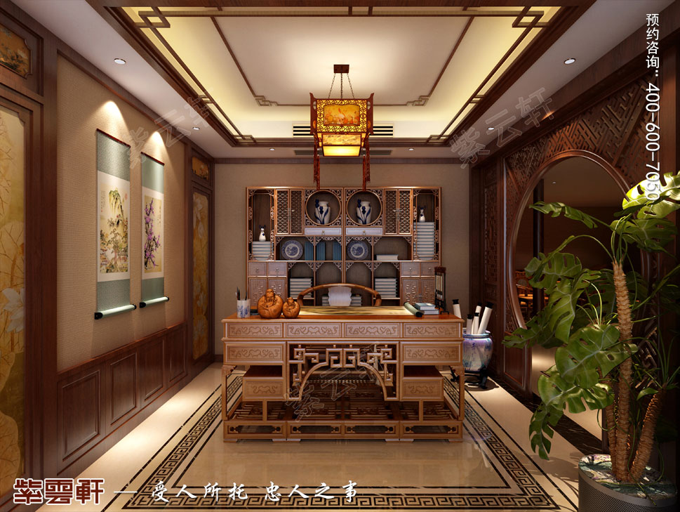 书房纯古典中式别墅装修效果图