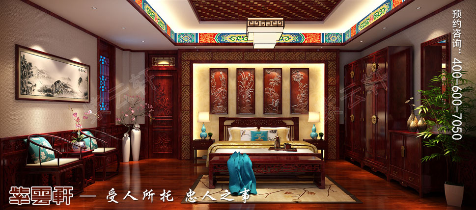 别墅主卧室传统风格装修图片