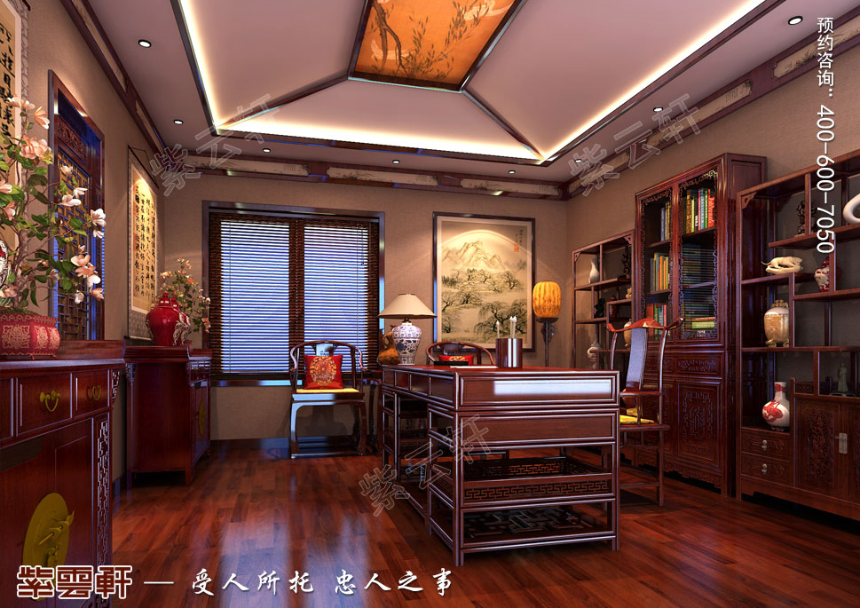 别墅主书房古典中式装修风格