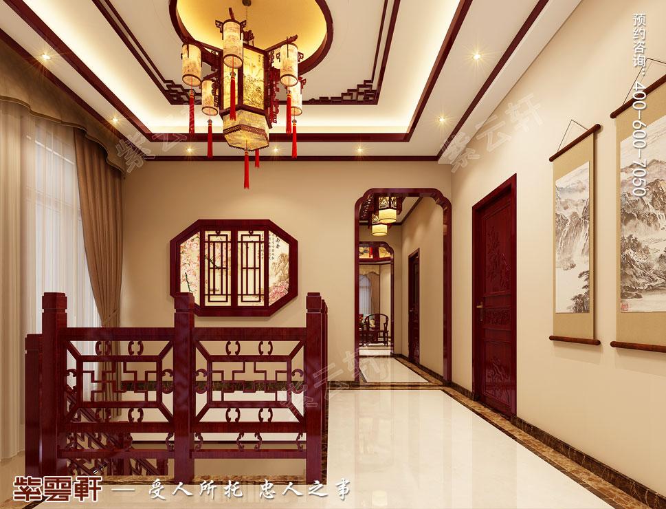 别墅楼梯间现代中式风格装修效果图