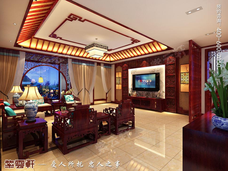 中式别墅装修起居室效果图