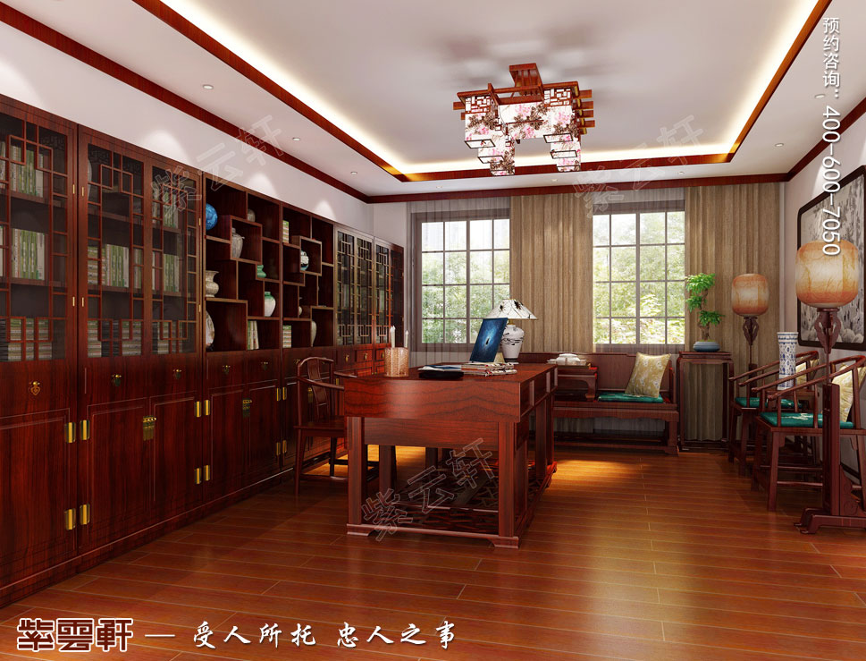 别墅书房简约中式装修风格