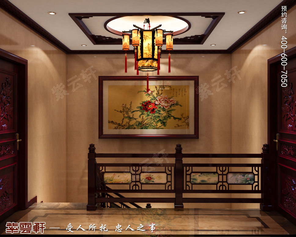 别墅楼梯间简约古典中式效果图