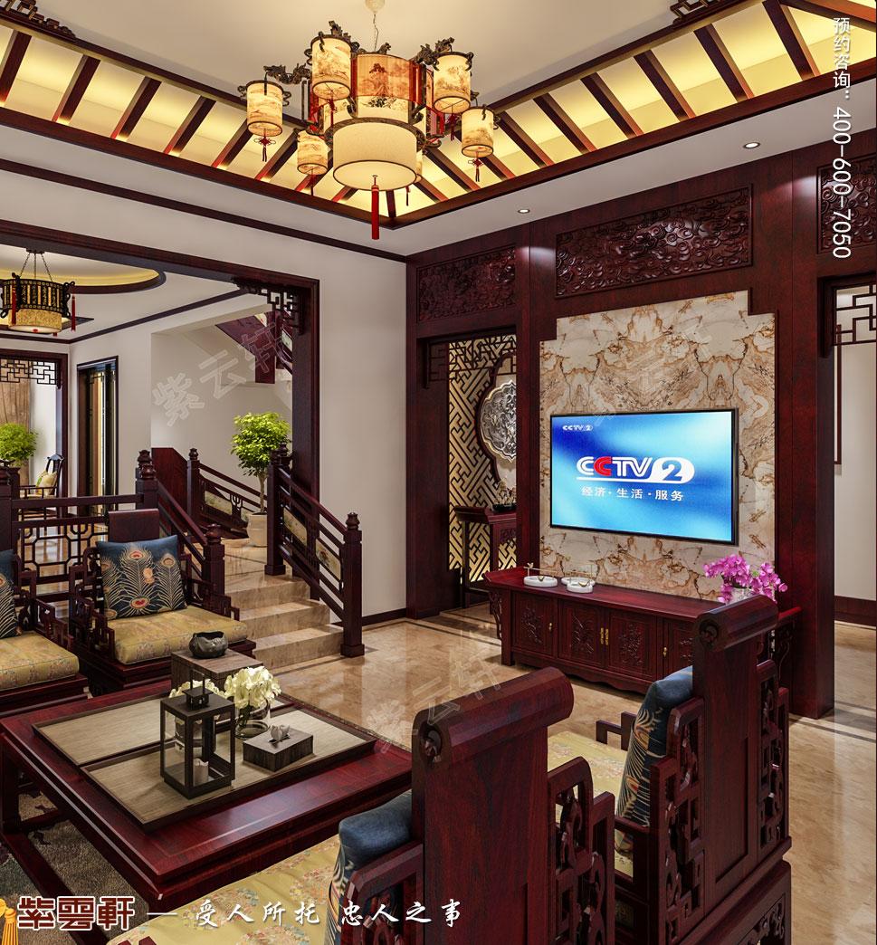 别墅客厅简约古典中式效果图