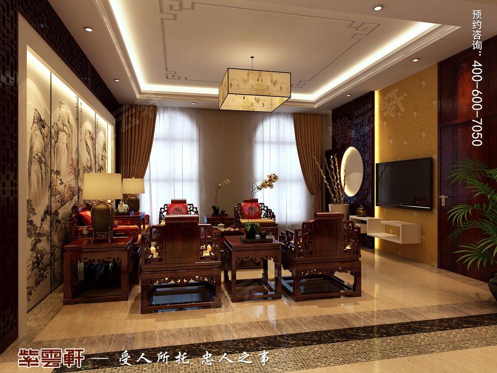 别墅起居室现代豪华中式装修图