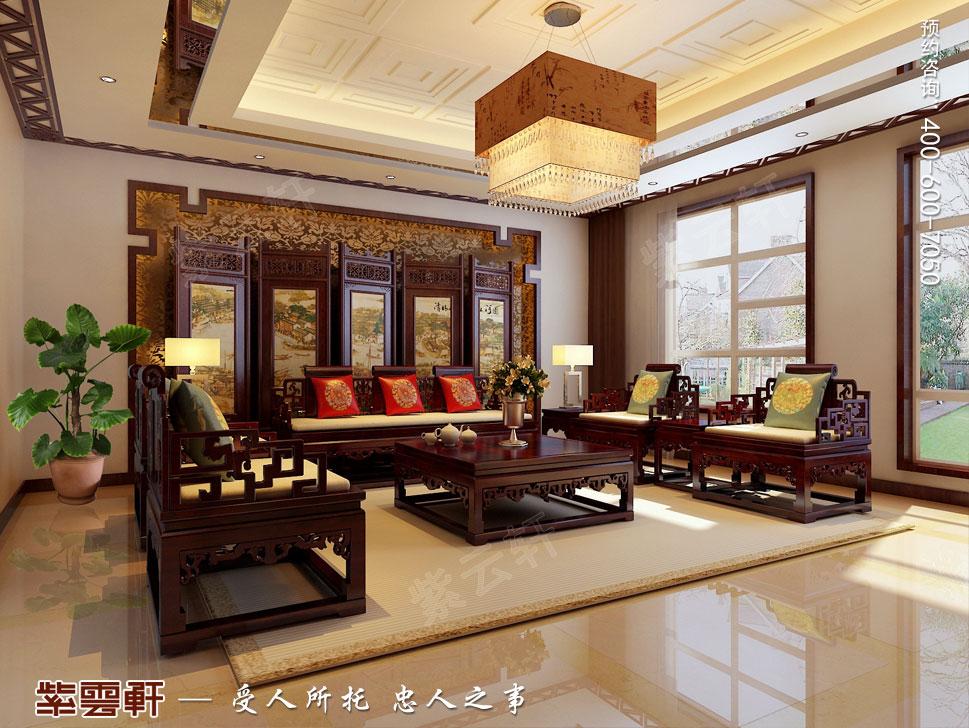 别墅客厅现代豪华中式装修图