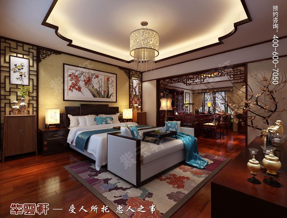 别墅主卧室现代中式装修效果图