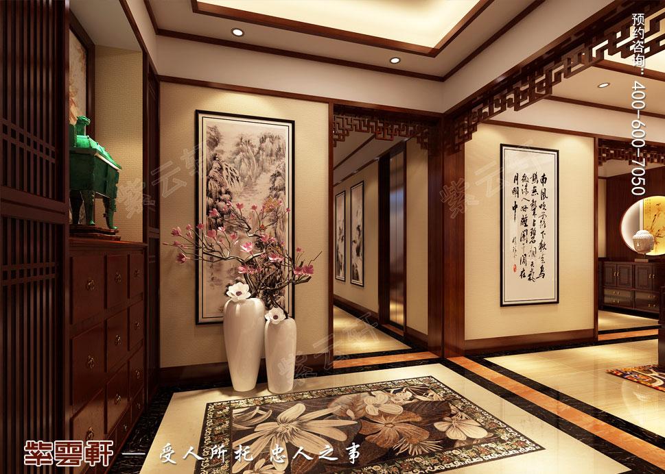 别墅门厅现代中式装修效果图