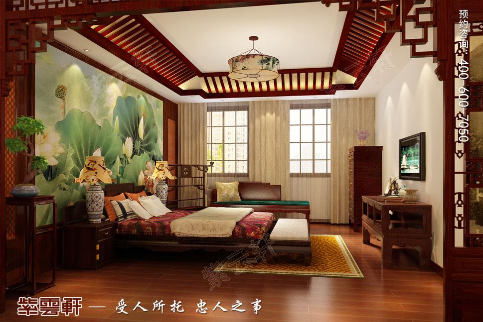 别墅主卧现代中式装修图片