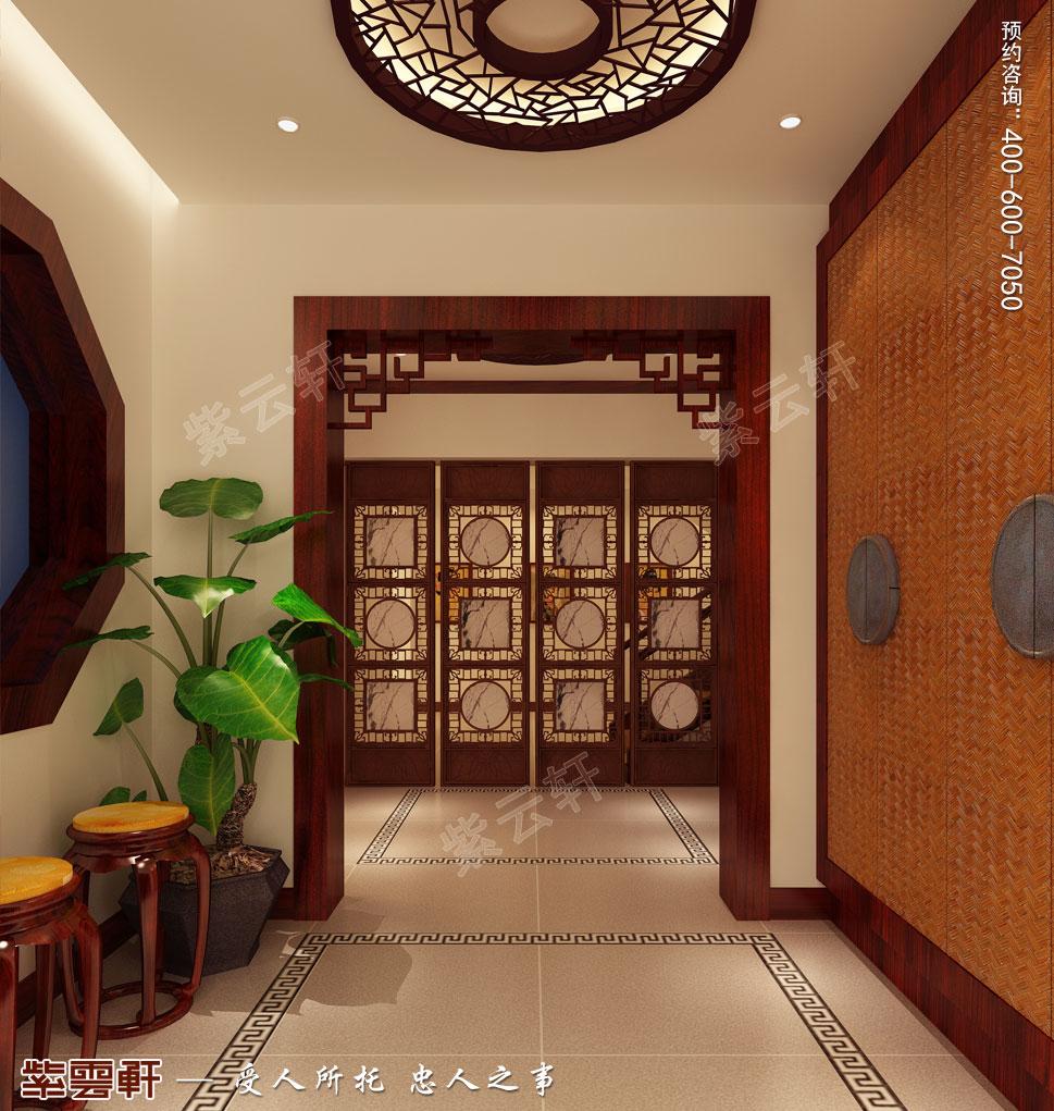 别墅玄关现代中式装修图片