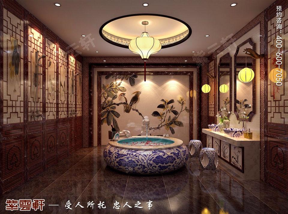 简约古典中式风格别墅装修卫生间图片