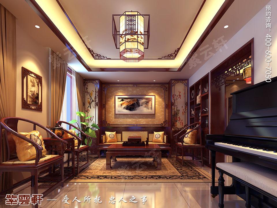 别墅起居室现代中式装修效果图