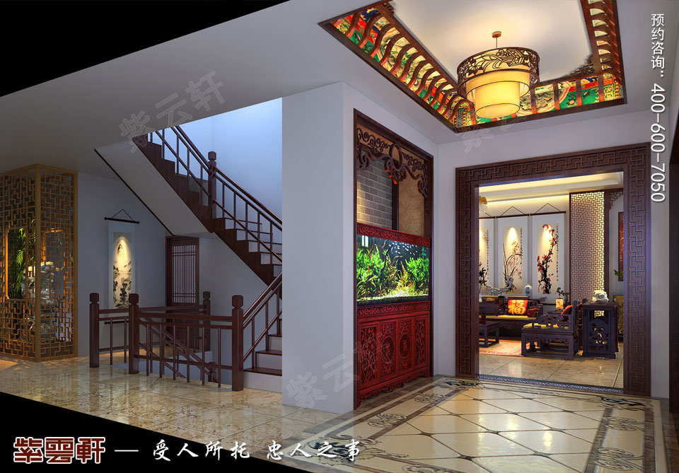 别墅门厅<a href=http://www.bba34.com/xiandaizhongshi/ target=_blank class=infotextkey>现代中式风格</a>装修效果图
