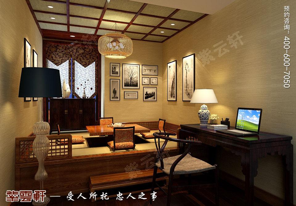 别墅书房现代中式风格装修效果图