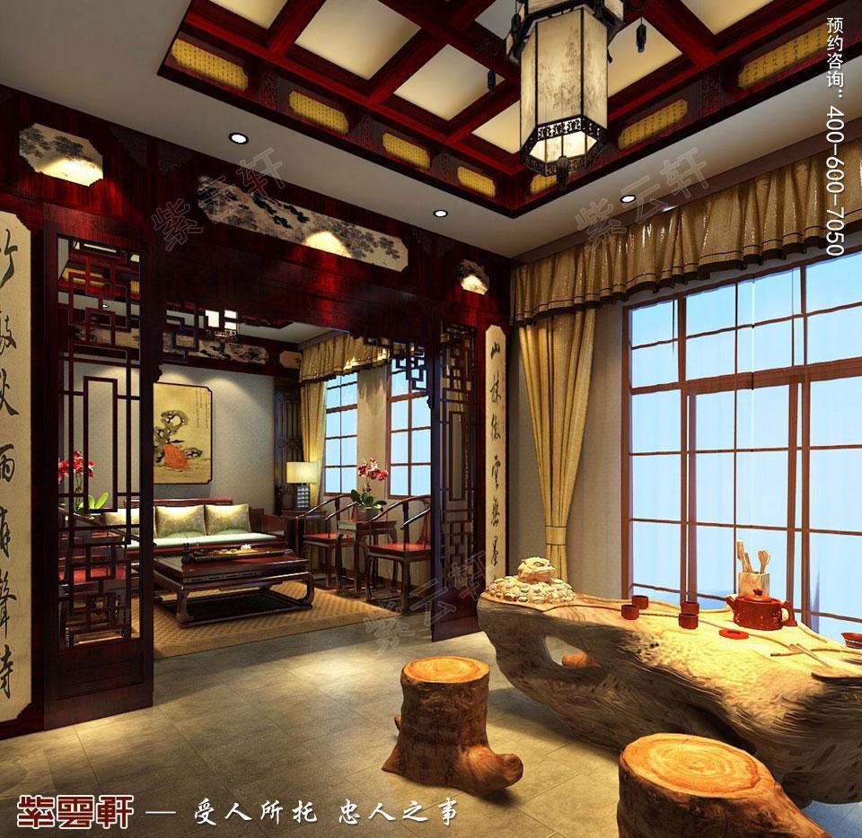 简约古典中式风格别墅装修茶室图片