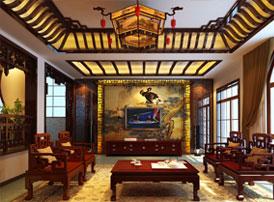 联排别墅简约古典中式风格装修效果图 古色生香 典雅大气
