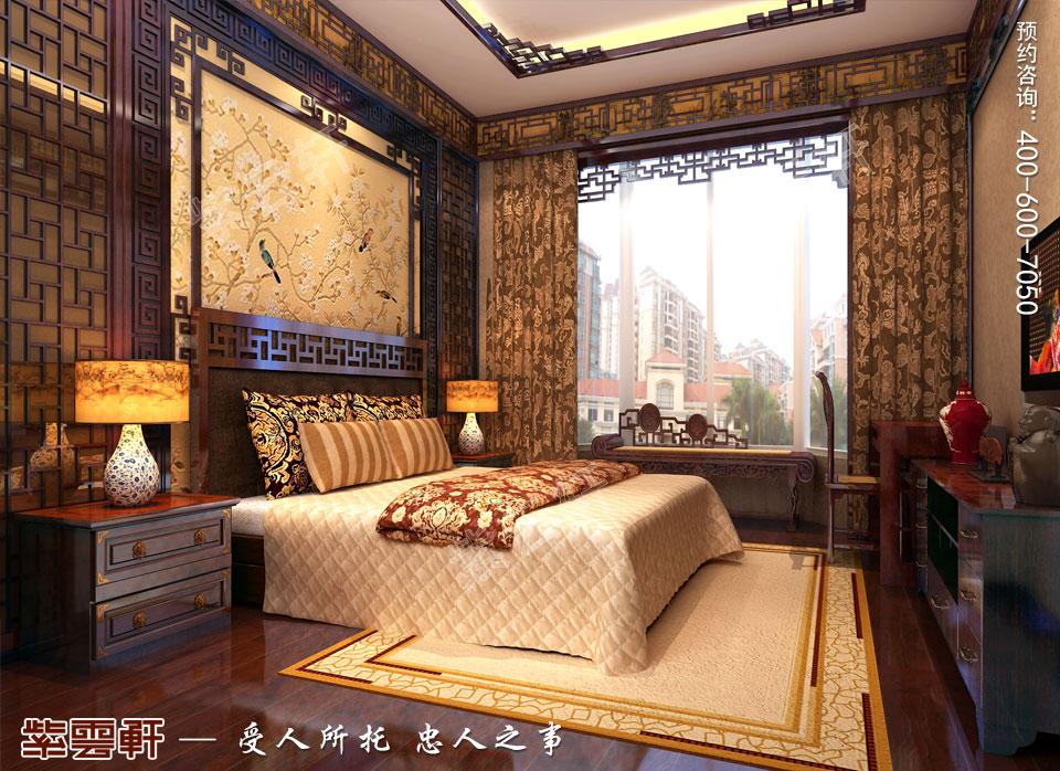 别墅女主卧中式古典装修图