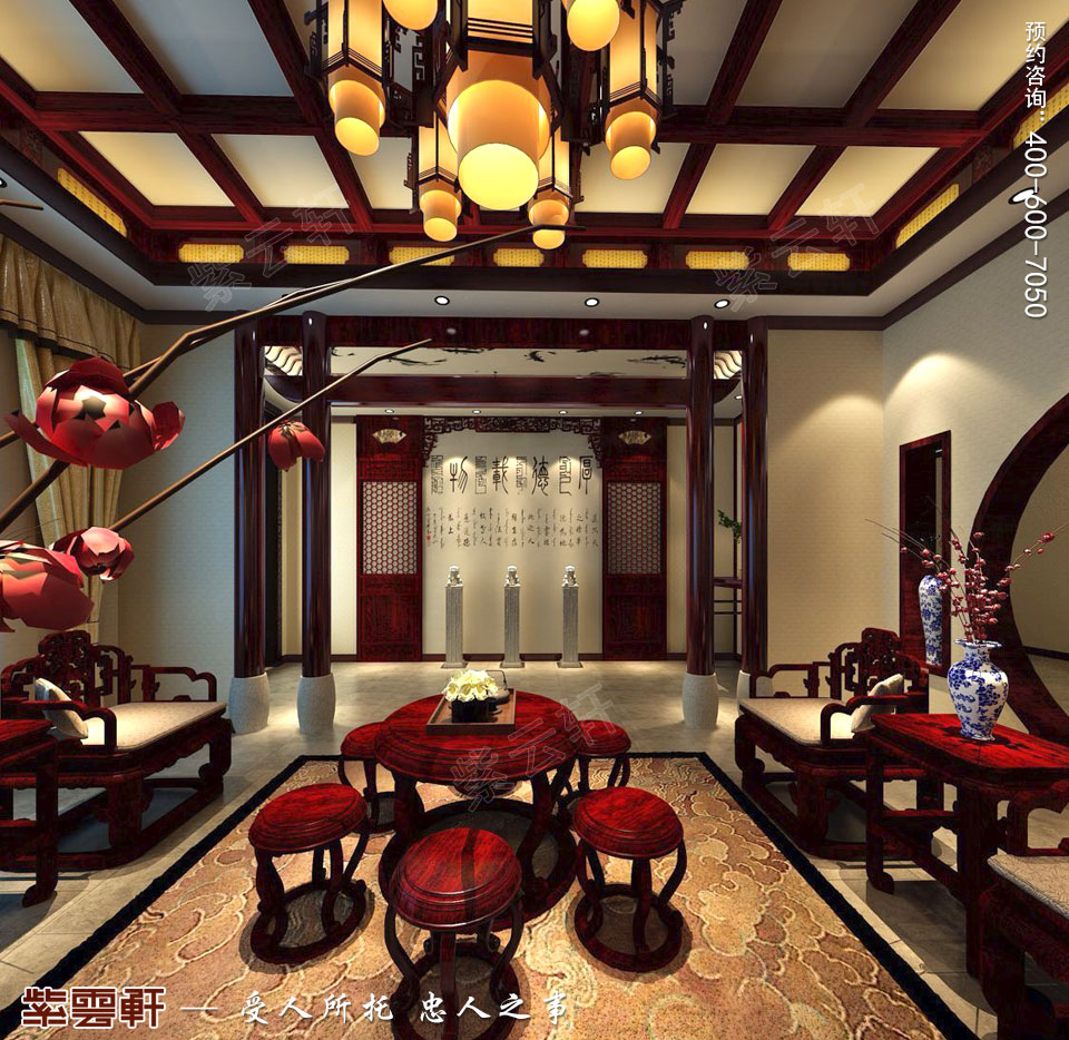 简约古典中式风格别墅装修客厅图片