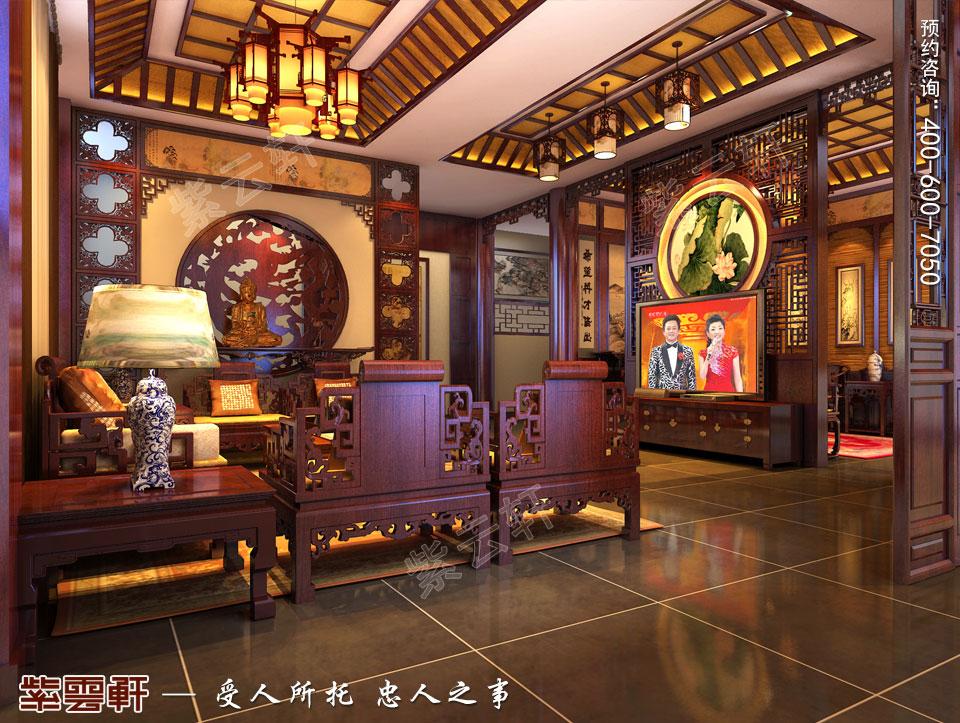 别墅客厅中式古典装修图