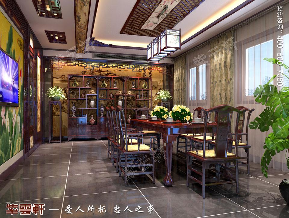 别墅餐厅中式古典装修图